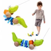 Klasikinis pasaulio medinis žaislinis krokodilas su traukiančiais garsais su virvele Organic toys