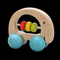 "Klasikinis ""World Rattle"" medinis stumiamas dramblys ant ratų Organic toys"