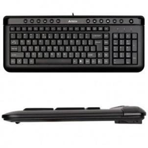 A4Tech keyboard KL-40, USB (Black) (US+Russian), Slim Keyboard