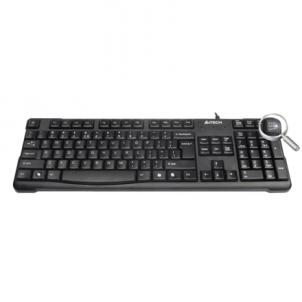 A4Tech keyboard KR-750, USB (Black) (US+RU), Rounded Edge Keycaps Keyboard