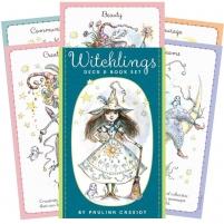 Kortos Witchlings ir knygų rinkinys Kortos