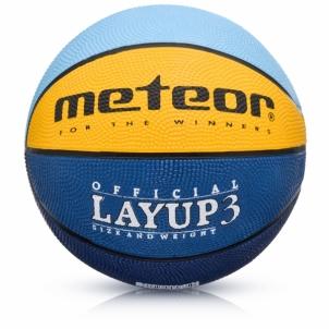 Krepšinio kamuolys Meteor Layup 3 Mėlyna/Geltona/Žalia Basketbola bumbas