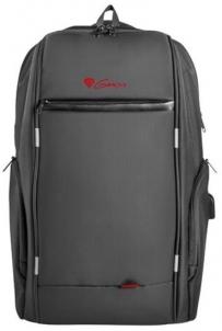 Krepšys GENESIS notebook backpack PALLAD 400 + USB; Black 15,6