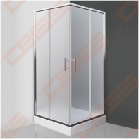 Kvadratinė shower SANIPRO Orlando Neo 80x80 su dviejų elementų slankiojančiomis durimisbei brilliant spalvos profiliu ir matiniu stiklu