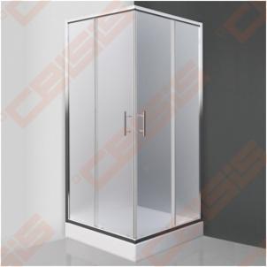 Kvadratinė dušo kabina SANIPRO Orlando Neo 90x90 su dviejų elementų slankiojančiomis durimisbei brilliant spalvos profiliu ir matiniu stiklu