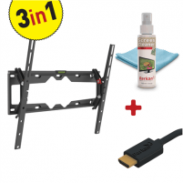 "Laikiklis Barkan 3 in 1 Combo: Flat /Curved TV Wall Mount + Screen Cleaner + HDMI Cable CM310+ Wall Mount, Tilt, 29-65 "", Maximum weight (capacity) 50 kg, Black TV stovai, laikikliai"