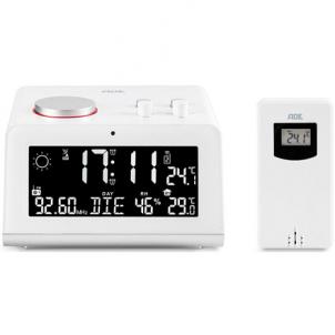 Laikrodis ADE Radio alarm clock with weather station WS 1710 White, Alarm function Interjero laikrodžiai