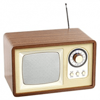 Laikrodis ClipSonic Bluetooth Compatible retro speaker radio TES177 Wooden case, beige, 5 W Interjero laikrodžiai