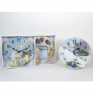 Laikrodis stiklinis sieninis 30cm Interjero laikrodžiai, metereologinės stotelės