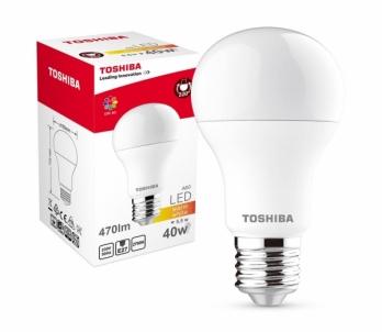 LED lempa TOSHIBA A60 | 5,5W (40W) 470lm 2700K 80Ra ND E27 Šviesos diodų (LED) lempos