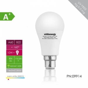 LED lemputė Whitenergy | B22 | 11 SMD2835 | 10W |175-250V šilta balta | A60 Light-emitting diode (led) lamps