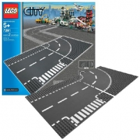 Lego 7281 City T-Junction and Curved Road Plates