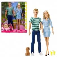 Lėlė FTB72 Mattel Dogs Walk Barbie & Ken with Puppy Barbie Doll