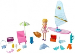 Lėlė GFR01 / GFT95 Polly Pocket Surf Splash Playset 3 inch Polly Big Doll with Beach Surfing