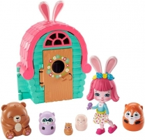Lėlė GTM47 / GTM46 Enchantimals Bree Bunny and Cabana Doll with Pet Matryoshka Surprise and Toy Cabin MAT