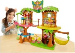 Lėlės komplektas GNC57 Enchantimals JUNGLEWOOD Cafe & PEEKI Parrot Doll MATTEL