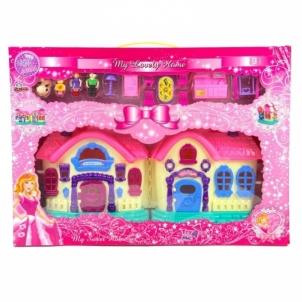 Lėlių namelis Villa toys pink music with people furniture