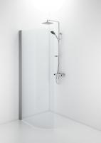 Lenkta dušo dienelė Ifo Space 2000, 90 cm, matinis stiklas, su rankenėle Душ стены