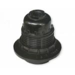 Lizdas lempai E27, pakabinamas, karbolitinis, su žiedeliu, juodas, H10RP Elektros patronai, lizdai