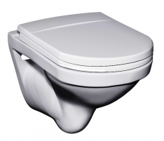 Logic hanging toilet with hard cover, baltas