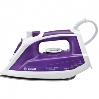 Lygintuvas Bosch Iron TDA1024110 Violet/ white, 2400 W, Steam iron, Continuous steam 30 g/min, Steam boost performance 130 g/min, Auto power off, Anti-drip function, Anti-scale system, Vertical steam function, Water tank capacity 300 ml