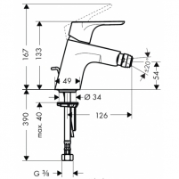 Maišytuvas bidė Focus E2 31920000 Single lever bidet mixer