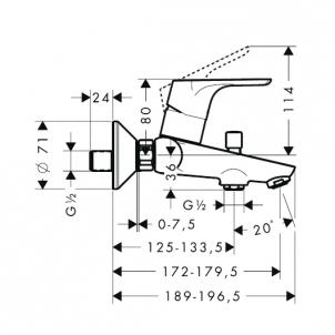 Maišytuvas voniai Focus E2 31940000 Vonios maišytuvai