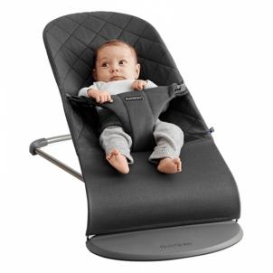 Maitinimo kėdutė- supuoklė Bouncer Bliss, Anthracite (Cotton) Vaikiški baldai, maitinimo kėdutės
