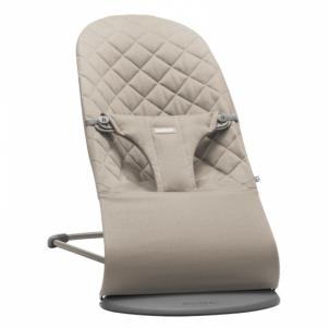 Maitinimo kėdutė- supuoklė Bouncer Bliss, Sand grey (Cotton) Vaikiški baldai, maitinimo kėdutės