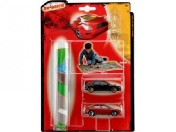 Majorette žaidimų aikštelė + 2 mašinėlės Automobilių lenktynių trasos vaikams