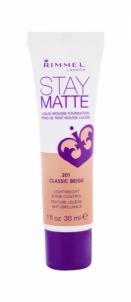Makiažo pagrindas Rimmel London Stay Matte Liquid Mousse Foundation Cosmetic 30ml 201 Classic Beige Makiažo pagrindas veidui