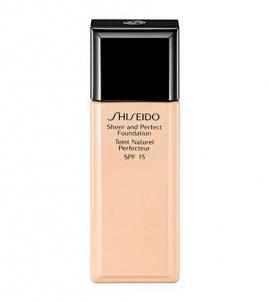 Makiažo pagrindas Shiseido Sheer and Perfect Foundation SPF15 Cosmetic 30ml.. Makiažo pagrindas veidui