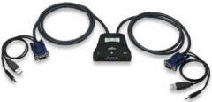 Manhattan 2-Port Mini KVM Switch, USB, Audio, Black