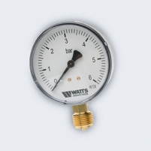 Manometras 1/2'' M100/6barų be patikros Technical pressure gauge