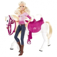 Mattel V6984 Barbie and Tawny ''Walking Together'' Doll and Horse Set