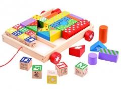 Medinių blokelių rinkinys Uzlikas un būvniecības rotaļlietas
