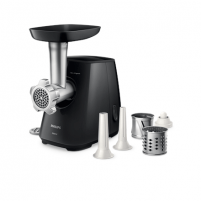 Mėsmalė Philips Meat Mincer HR2721/00 Black, Number of speeds 1, Throughput (kg/min) 2.3, Slicing and cutting drums are added. Nozzle for cooking sausages 12 mm (thin) and 22 mm (thick). Grinder, blender,