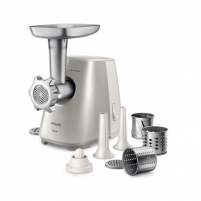 Mėsmalė Philips Meat Mincer HR2723/20 White/ stainless steel, Number of speeds 1, Throughput (kg/min) 2.3, Additional chamber for feeding with three nozzles-drums for cutting vegetables. Nozzle for cooking sausages 12 mm (thin) and 22 mm (thick). Mėsmalės, trintuvės