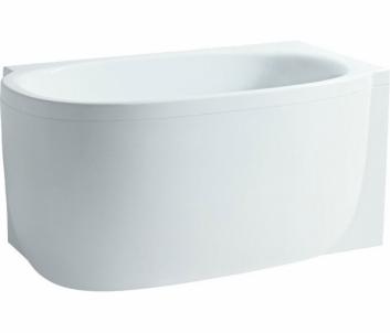 MIMO vonia 140x80 cm, montuojama į dešinį kampą su kairiniu L formos juodu paneliu, su rėmu, balta
