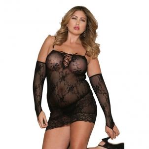 MINI DRESS BLACK FLORAL XL Xl erotica
