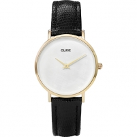 Women's watches Cluse MinuitLaPerle Gold White Pearl/Black Lizard CL30048