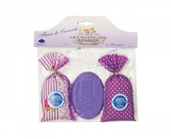 Muilas Le Chatelard Gift set Lavender pouch 2 x 18 g and oval lavender soap 100 g Muilas