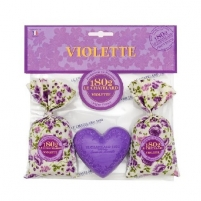 Muilas Le Chatelard Gift set with purple scent Aromatic sachet 2 x 18 g + heart soap 100 g Muilas