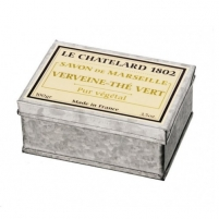 Muilas Le Chatelard Luxury soap in Verbena zinc box and green tea 100 g Muilas