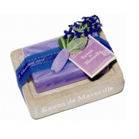 Muilas Le Chatelard Soapstone in imitation stone with luxury French soap Lavender 100 g Muilas