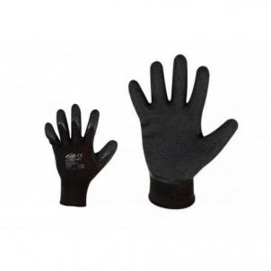 Nailoninės pirštinės, aplietos juodu poliuretanu Siūtos darba cimdi