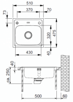 Nerūdijančio plieno universali plautuvė FRANKE Euroform EFN610 be ventilio Nerudyjančio steel kitchen sinks
