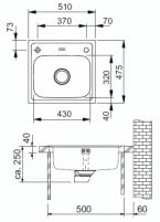 Nerūdijančio plieno universali plautuvė FRANKE Euroform EFX610 be ventilio Nerudyjančio plieno virtuvės plautuvės