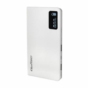 Nešiojamas įkroviklis Power Bank Slim Qoltec 10000mAh | Li-poly | white | USB 5V~1A/2.1A