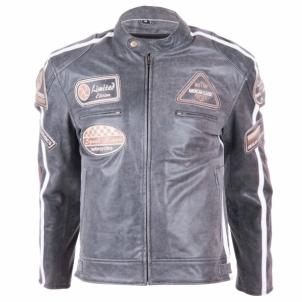 Odinė motociklininko striukė BOS 2058 Vintage Grey